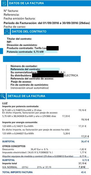 Poner PVPC luz en factura
